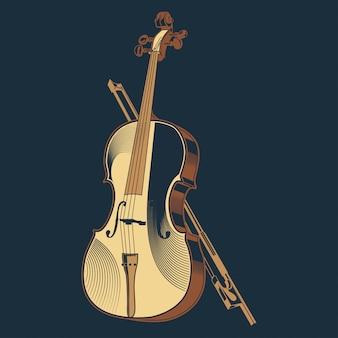 Ilustración de vector vintage de violín clásico