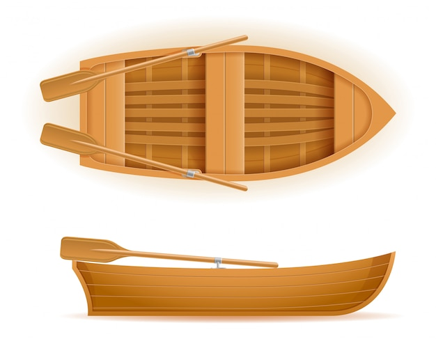 Ilustración de vector de vista superior y lateral de barco de madera