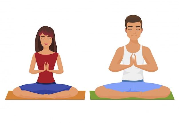 Ilustración de vector de yoga pareja. posición de loto del hombre y de la mujer aislada.