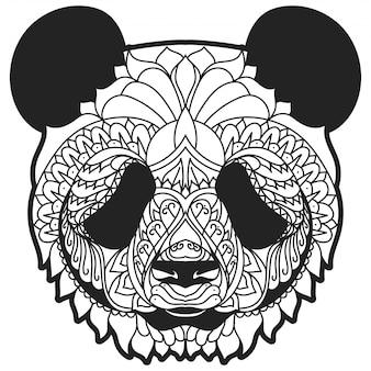 Ilustración de vector de zentangle panda línea arte