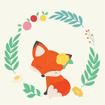 Ilustración de vector de zorro lindo. arte dibujado a mano.