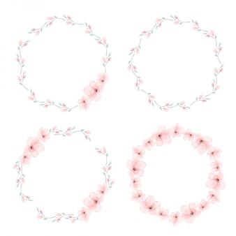 Ilustración de vectores de colección de guirnalda de círculo de flor de cerezo