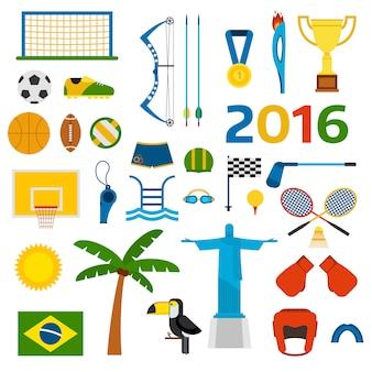 Ilustración de vectores de iconos de juegos olímpicos de verano de rio