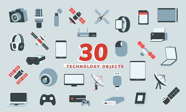 Ilustración vectorial de 30 objetos tecnológicos