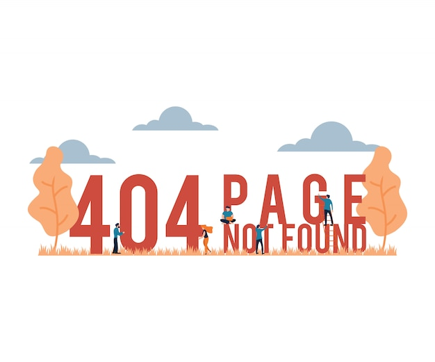 Ilustración vectorial 404 página no encontrada estilo de dibujos animados plana