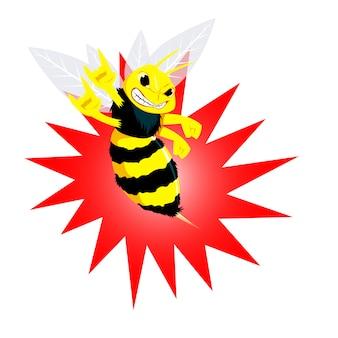 Ilustración vectorial abeja enojado. dibujos animados