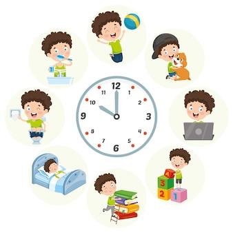 Ilustración vectorial de actividades diarias de rutina para niños
