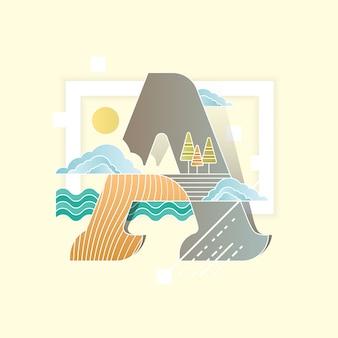 Ilustración vectorial alfabeto combinado con un paisaje paisaje en el estilo plano