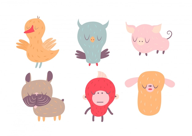 Una ilustración vectorial de animales soñolientos