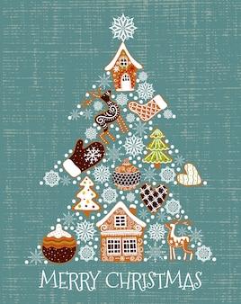 Ilustración vectorial de un árbol de navidad en forma de pan de jengibre y copos de nieve.