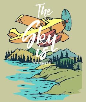 Ilustración vectorial de avión volando en la montaña y el lago