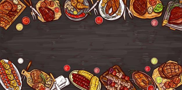 Ilustración vectorial, banner culinario, fondo de barbacoa con carne a la parrilla, salchichas, verduras y salsas.