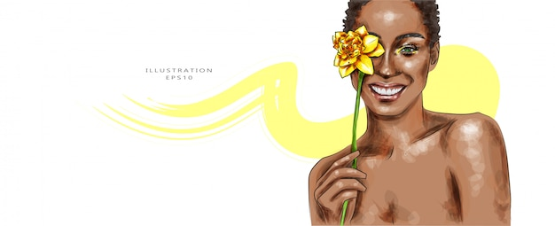 Ilustración vectorial bella mujer con maquillaje