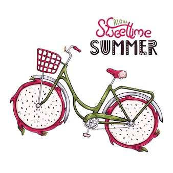 Ilustración vectorial de bicicleta con fruta de dragón en lugar de ruedas.