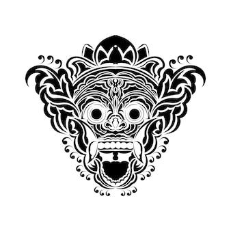 Ilustración vectorial, boceto de una máscara tradicional balinesa de barong, adecuada para usar como estampado de camisetas.