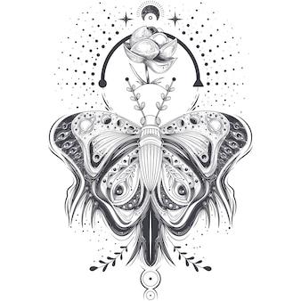 Ilustración vectorial de un boceto, tatuaje arte mariposa en estilo abstracto, místico, símbolo astrológico.
