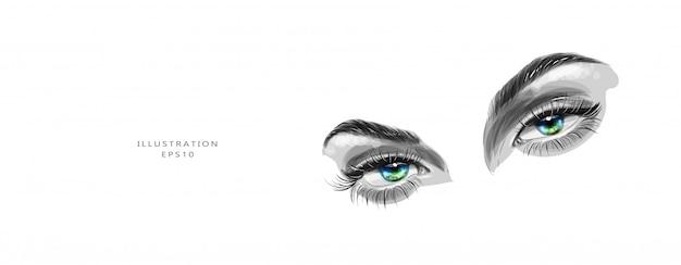 Ilustración vectorial bosquejo de hermosos ojos verdes. visión saludable