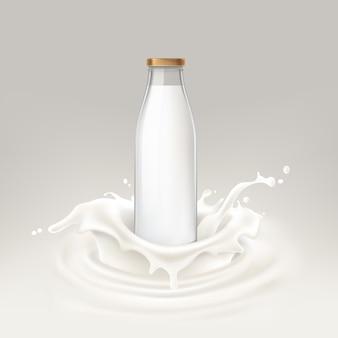 Ilustración vectorial botella llena de leche