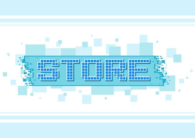 Una ilustración vectorial del botón de tienda de texto azul de píxeles en la ilustración de fondo blanco
