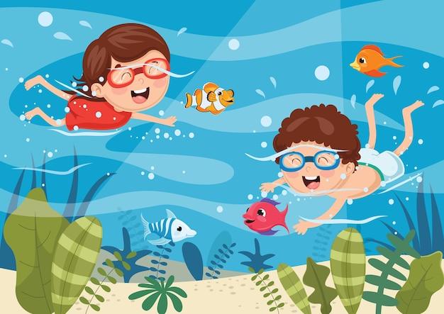 Ilustración vectorial de buceo para niños