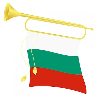 Ilustración vectorial bugle con una bandera de bulgaria