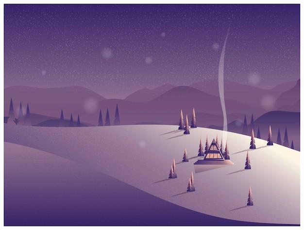 Ilustración vectorial de una cabaña solitaria en la montaña en invierno.