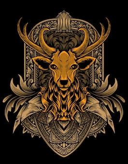 Ilustración vectorial cabeza de ciervo con adornos de grabado vintage.