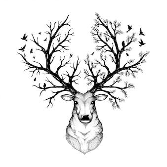 Ilustración vectorial de una cabeza de ciervo con fondo de bosque