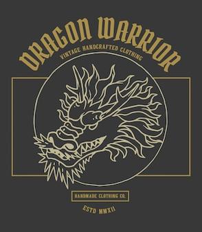 Ilustración vectorial de la cabeza del dragón de asia