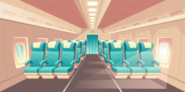 Ilustración vectorial con una cabina de un avión, asientos de clase económica con sillas azules