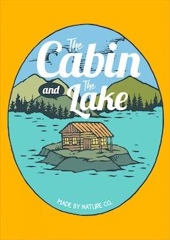 Ilustración vectorial de la cabina y el lago