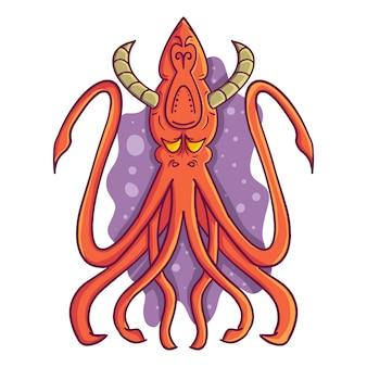 Ilustración vectorial de un calamar monstruo de dibujos animados de color naranja brillante