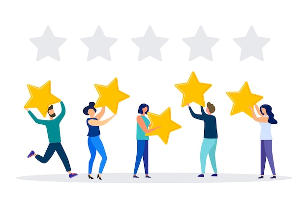 Ilustración vectorial calificación de opiniones de clientes diferentes personas dan una calificación de revisión y comentarios