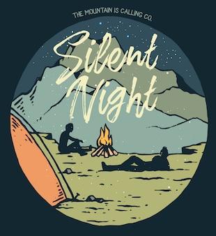 Ilustración vectorial del campamento nocturno en la montaña