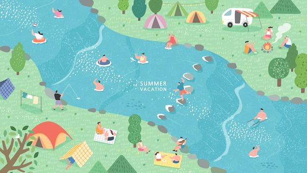 Ilustración vectorial campings espectacular natural situado a lo largo del río.