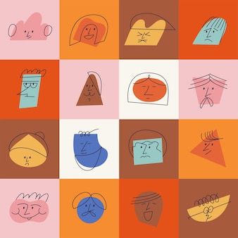 Ilustración vectorial caras abstractas contemporáneas con diferentes emociones. diferentes personajes coloridos. lo más destacado de la historia de las redes sociales.