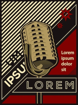 Ilustración vectorial de cartel clásico retro vintage micrófono