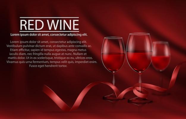 Ilustración vectorial, cartel realista brillante con una fila de vasos llenos de vino tinto y cinta roja
