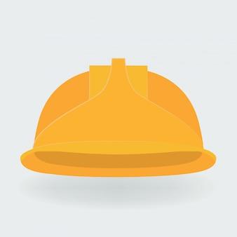 Ilustracion vectorial casco de construcción amarillo.