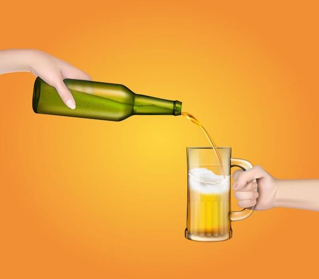 Ilustración vectorial de una cerveza de cebada fría vertiendo de una botella en un vaso transparente.