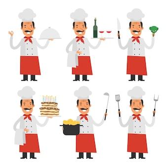 Ilustración vectorial, chef alegre en diferentes poses parte 1, formato eps 10