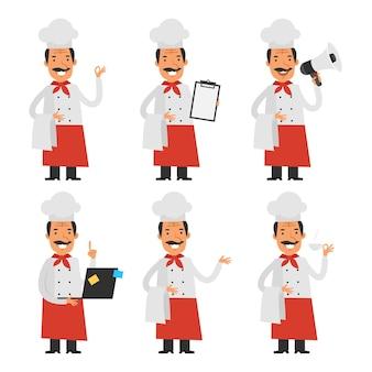 Ilustración vectorial, chef alegre en diferentes poses parte 2, formato eps 10