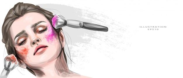 Ilustración vectorial chica con maquillaje brillante. retrato de una hermosa joven con maquillaje en colores brillantes. rubia. moda, belleza, salón de belleza. aplicación con brocha.