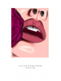 Ilustración vectorial ciérrese para arriba de labios femeninos hermosos con maquillaje rojo. piel perfectamente limpia, maquillaje de labios sexy. hermoso retrato de spa con una tierna flor rosa. spa y cosmética.