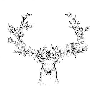 Ilustración vectorial de un ciervo cabeza con cuernos florales