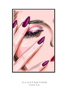 Ilustración vectorial closeup retrato de una mujer joven caucásica sexy con maquillaje glamoroso dorado y manicura brillante.