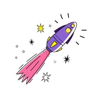 Ilustración vectorial de cohete espacial y estrellas.