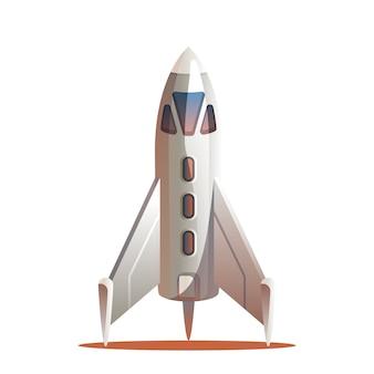Ilustración vectorial cohete preparándose para el lanzamiento