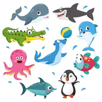 Ilustración vectorial de la colección de animales de dibujos animados