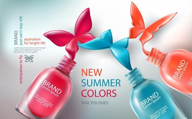 Ilustración vectorial colección de botellas de colores abierto con esmalte de uñas derramado en forma de mariposas